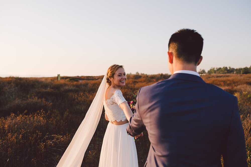 Los angeles wedding photographer, where to elope in california, how to elope in los angeles, laguna beach elopement, laguna beach courthouse wedding, orange county wedding photographer, beach elopement locations, grace loves lace wedding dress, two piece wedding dress, california elopement packages, crystal cove state park, crystal cove wedding, california elopement ideas, elopement inspiration, adventure elopement ideas, sunset elopement, sunset wedding, small wedding in los angeles, long viel