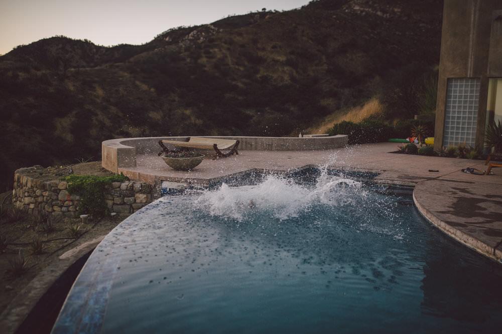 ojai elopement sunset wedding mountain pool intimate