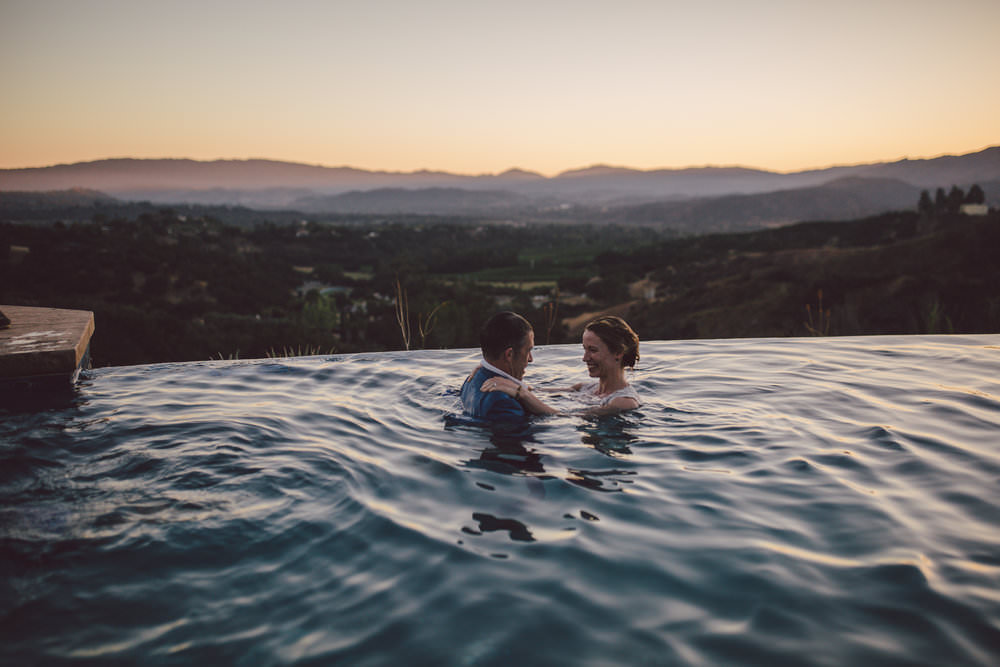ojai sunset elopement wedding pool